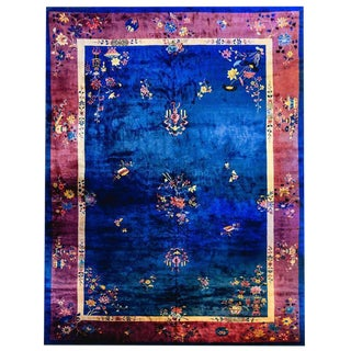 Palatial Size Chinese Art Deco Royal Blue and Violet Rug - 12′ × 18′ For Sale