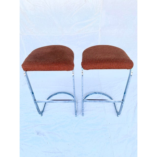1970s Cantilevered Baughman-Style Bar Stools - a Pair For Sale - Image 5 of 8