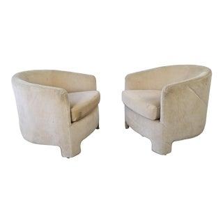 Vladimir Kagan Style Post Modern Club Lounge Chairs - a Pair For Sale