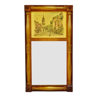 Vintage Split Column Mirror With Arthur A. Kaplan Lithograph For Sale