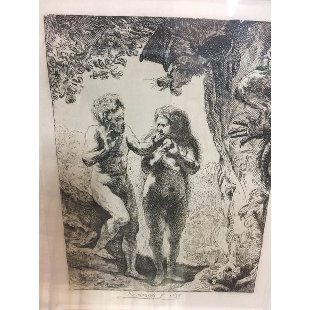 1990s Rembrandt Etching Adam & Eve For Sale - Image 5 of 7