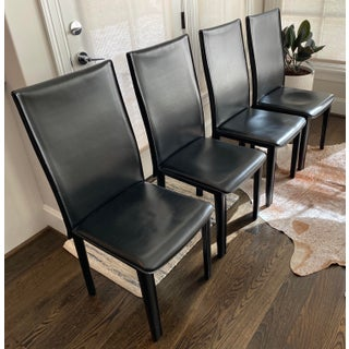 Modern Italian Black Leather Dining Chairs by Arper-Set of 4 Preview