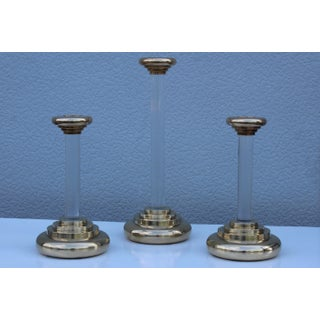 1980s Lucite and Brass Large Candleholders Preview