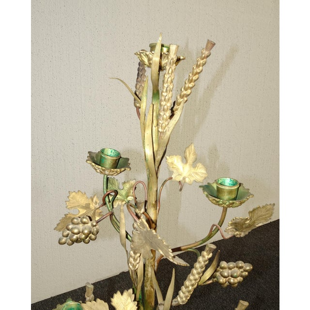 """Pair Tall 36""""h Vintage Gold Table Top Floral Candelabras Brass Candle Holders Light For Sale In Los Angeles - Image 6 of 13"""