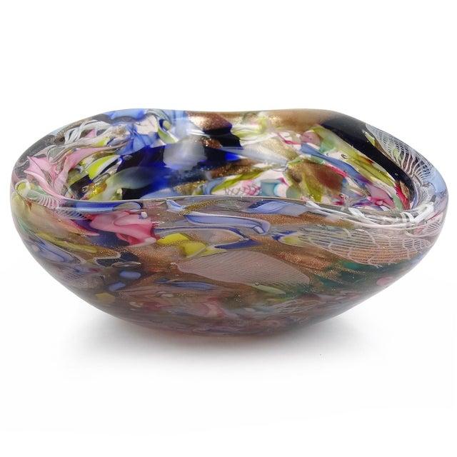 Mid 20th Century Murano Vintage Latticino Zanfirico Ribbon Aventurine Flecks Italian Art Glass Mid Century Jewelry Dish For Sale - Image 5 of 8