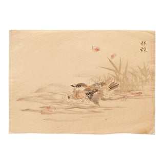 19th Century Meiji Era Japanese Watercolor of Warbler Bathing in a Pond For Sale