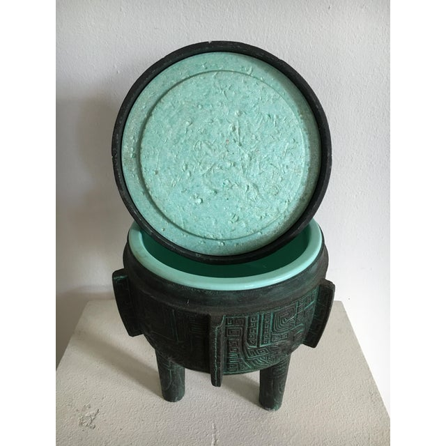 1970s James Mont Style Faux Bronze Verdigris Ice Bucket For Sale - Image 5 of 7