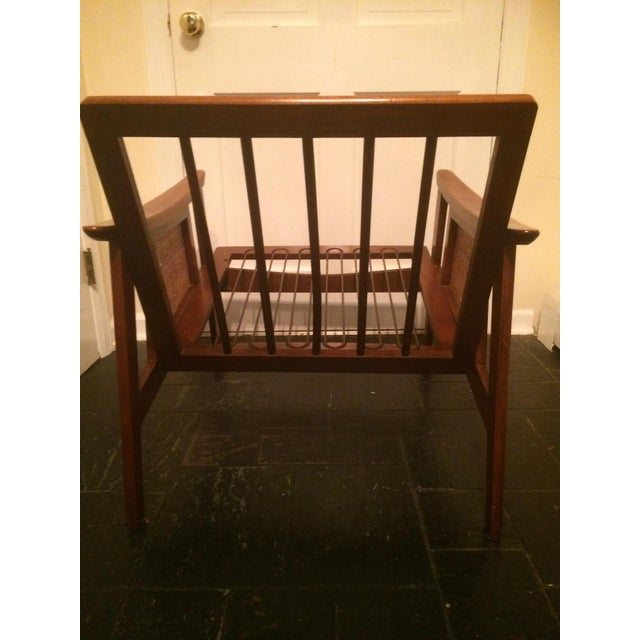 Caning Mid-Century Low-Slung Wood Arm Chair For Sale - Image 7 of 11