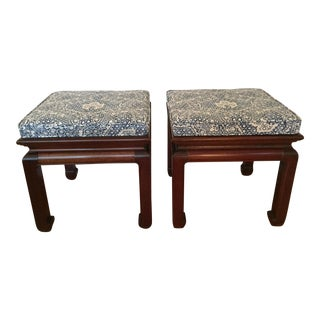 Ralph Lauren Upholsteted Vintage Ming Stools - a Pair