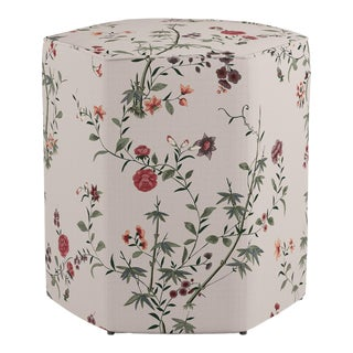 Hexagonal Ottoman in Multi Bamboo Garden For Sale