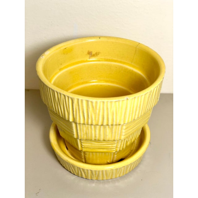 """McCoy Pottery 1940s - 1960s """"Yellow"""" Mid Century Flowerpot And Attached Saucer Bark Basket Weave Design, Small, Yellow..."""