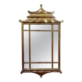 Italian Giltwood Chinese Chippendale or Chinioserie Style Pagoda Mirror For Sale