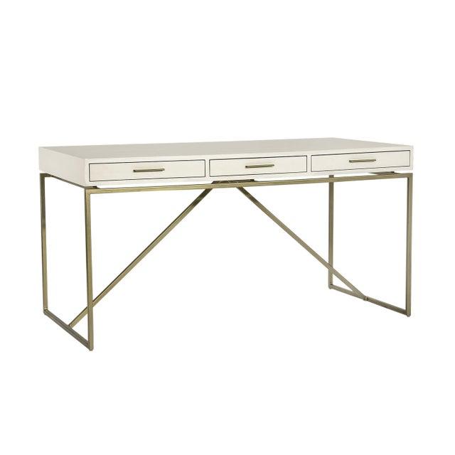 2010s Interlude Home Emmet Snakeskin Desk - White For Sale - Image 5 of 5