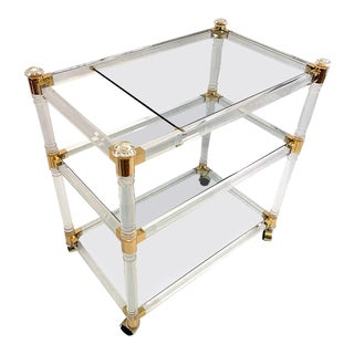 1970s Brass and Lucite Bar Cart or Trolley with Glass Top For Sale
