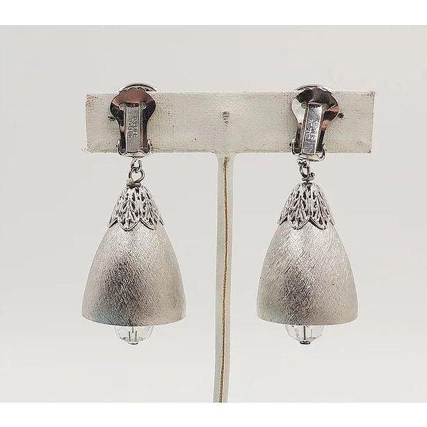 Mid-Century Modern 1970s Napier Silvertone Bell Earrings For Sale - Image 3 of 6