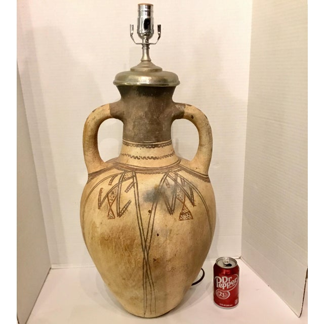 1990s Large Hand Thrown Moroccan Style Hand Painted Pottery Vase Table Lamp For Sale - Image 5 of 6