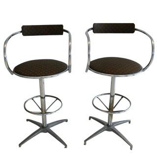 Louis Vuitton Upholstered Chrome Stools - A Pair