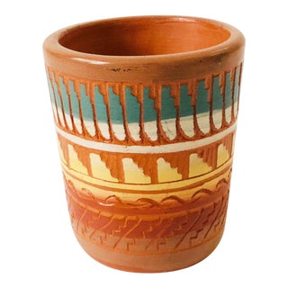 Vintage Small Carved Southwestern Pottery Cup For Sale