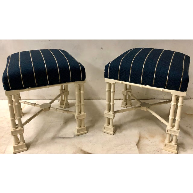 Pair Erwin Lambeth Chippendale Style Ottomans For Sale - Image 9 of 9