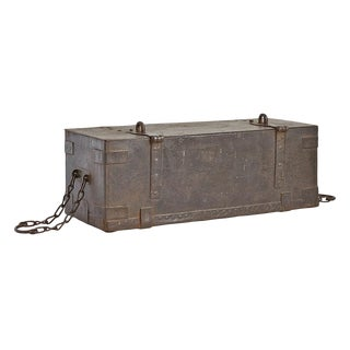 Hand Wrought Riveted Iron Strong Box Circa 1850