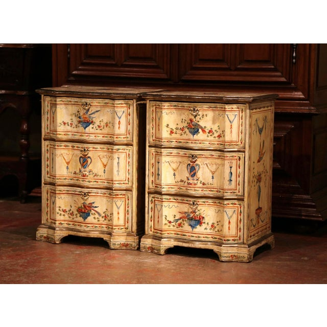19th Century Italian Carved Chests of Drawers With Bird Painted Decor - a Pair For Sale In Dallas - Image 6 of 13
