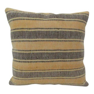 Vintage Handmade Brown and Yellow Striped Kilim Pillow Cover For Sale