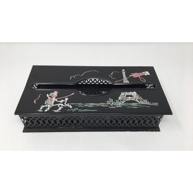 Vintage Mid-Century Paris Scene Black and Pink Metal Tissue Holder For Sale - Image 10 of 10