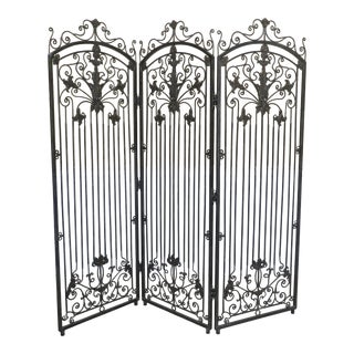 Theodore Alexander 3 Panel Wrought Iron Room Divider Screen For Sale