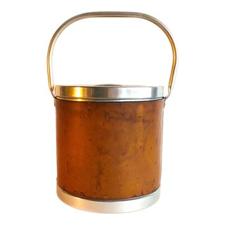 Vintage 1970s Italian Modern Leather and Aluminum Ice Bucket For Sale