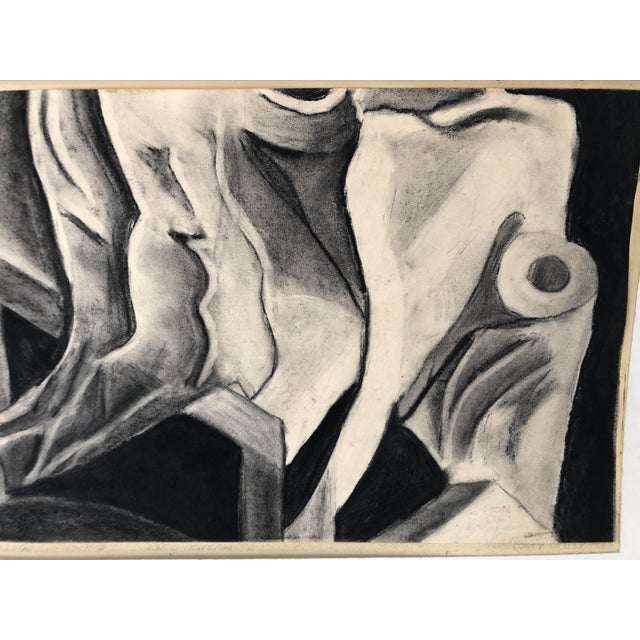 Abstract Monochrome Abstract Drawing 22x14 Still Life Signed For Sale - Image 3 of 7