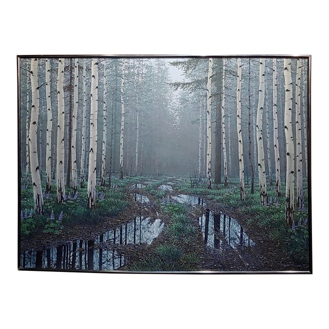 Jack Braman -Inside a Misty Forest of Aspens -Realism-Oil Painting For Sale