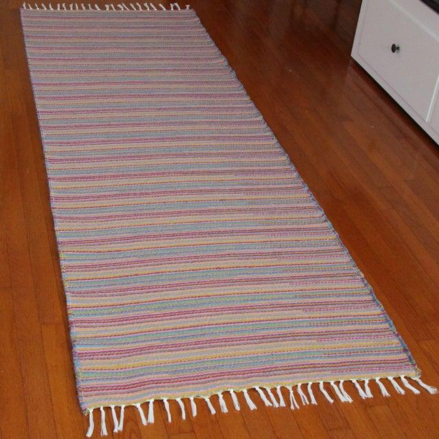 Flat Weave Wool Striped Pink Kilim Rug - 2'8'' x 7'6'' - Image 4 of 9