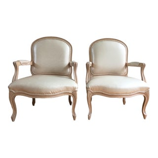 Vintage Louis XVI Style Fauteuil Armchairs in Blush Pink Snake Leather Upholstery - a Pair For Sale
