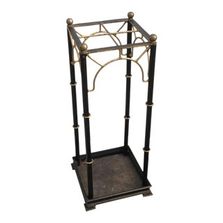 Regency Style Faux Bamboo Iron Umbrella Stand For Sale