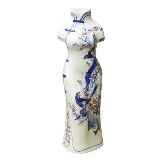 Chinese Blue White Porcelain Lady Dress Shape Vase For Sale