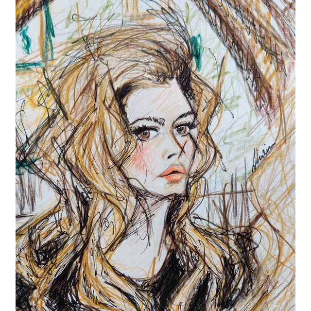 Color Pencil Potrait of 70s Icon Brigette Bardot on A4 Hahnemuhle Paper by Shirin Godhrawala, 2020