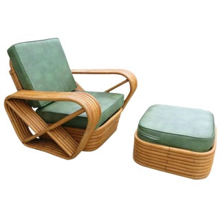 Paul Frankl Style Six-Strand Square Pretzel Rattan Lounge & Ottoman For Sale
