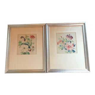 Framed Floral Watercolors by Milam - a Pair For Sale
