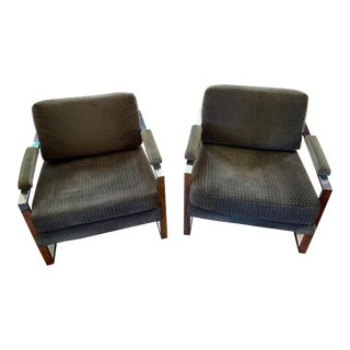 Milo Baughman Style Chrome Upholstered Lounge Chairs - a Pair For Sale
