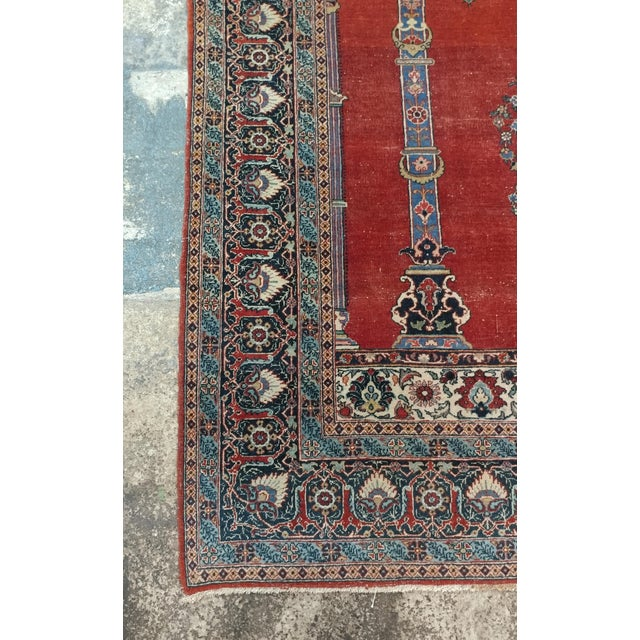 Antique Hand Made Persian Mashhad Rug - 4′4″ × 7′ For Sale - Image 5 of 10