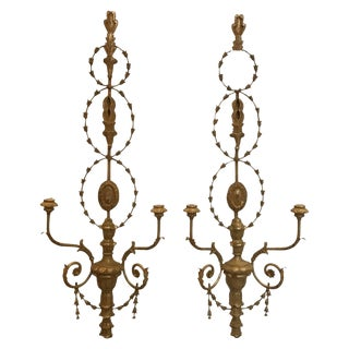 Vintage Mid-Century Adam Style Giltwood Candle Sconces - A Pair For Sale