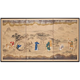 Meiji Era Japanese 3-Panel Byobu Screen For Sale