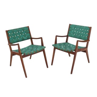 Pair of Mid-Century Modern Oiled Walnut Frames Armchairs For Sale