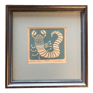 Original Vintage Pressed Paper Lithograph Astrology Scorpio