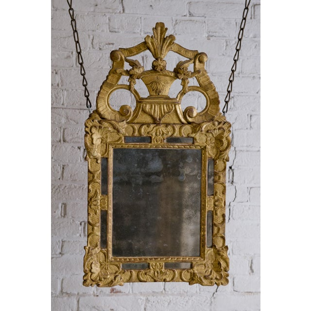 Gold 18th Century Carved Gilt Wood Louis XIV Mirror For Sale - Image 8 of 8