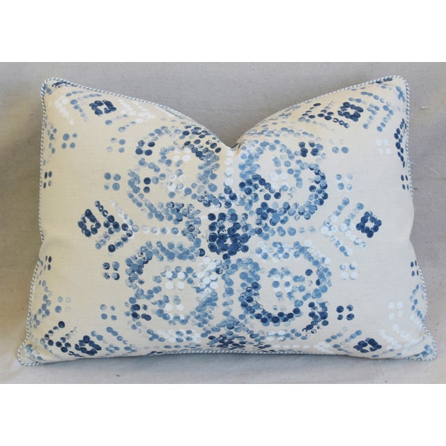 "Early 21st Century Designer Villa Nova Marit Blue & White Linen Feather/Down Pillows 22"" X 16"" - Pair For Sale - Image 5 of 13"