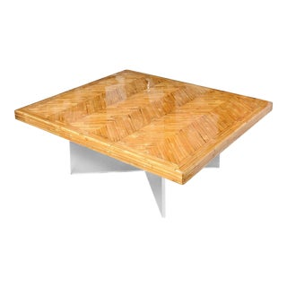 "Mid-Century Modern Lucite & Bamboo Coffee Table 42""by 42"""