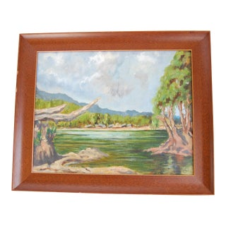 1960s Vintage Lakeside Original Oil on Canvas Painting For Sale