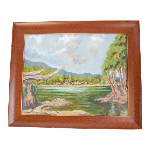 Vintage Lakeside Original Oil on Canvas Painting For Sale