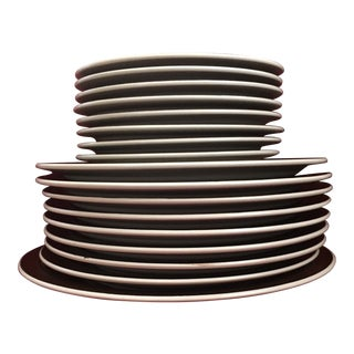 Mid-Century Modern Electra Regency Stoneware Dishes - Set of 17 For Sale